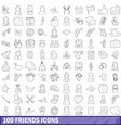 100 friends icons set outline style vector image
