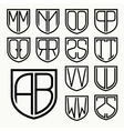 Set 2 of template letters inscribed in the shield vector image