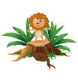 A stump with a little lion vector image