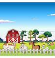Animals inside the fence with a barnhouse at the vector image vector image