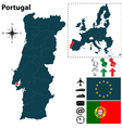Portugal and European Union map vector image vector image