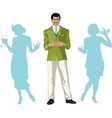 Asian male party host with female guests vector image vector image
