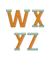 Colorful alphabet letters wxyz vector image