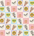 Set of funny animals muzzle owl panda giraffe lion vector image