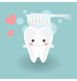 cute smiley white tooth feels confident while vector image
