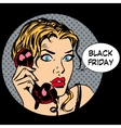 Black Friday woman phone communication vector image