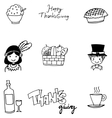 Doodle of Thanksgiving flat hand draw vector image