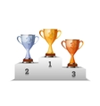 Cups of winners award on white podium vector image