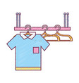 shelf design with clothes hanging icon vector image