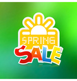 Spring Sale Theme with Paper Sun on Green vector image