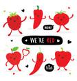 vegetable fruit cartoon cute tomato apple pepper vector image