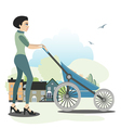 Mother trolleys children vector image