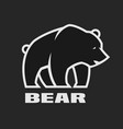 bear monochrome logo on a dark background vector image