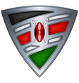 steel shield with flag kenya vector image vector image