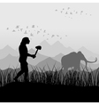 hunting for a mammoth vector image vector image