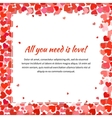 Template with many red hearts and text space vector image