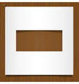 Simple paper frame on wooden background vector image