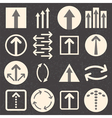 Arrow sign icon set on black background vector image