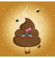 Cute turd with a bow and flies vector image