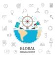 Global Management line art vector image