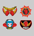 MMA emblem set Mix fight club logo vector image