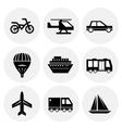 black transportation icons vector image