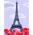 Eiffel tower with retro roses vector image