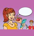 teenagers boy and girl online present via vector image