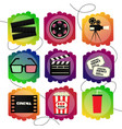 set of icons of a cinema bright multicolor set vector image
