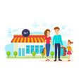 family after shopping at the mall on city street vector image