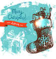 Hand drawn Vintage Christmas background vector image
