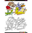 insect characters group coloring book vector image