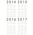 Set of european 2014 2015 2016 2017 calendars vector image