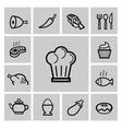 black kitchen icons set vector image vector image