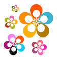 Abstract Retro Flowers Set Isolated on White vector image vector image