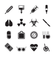 Silhouette collection of medical themed icons vector image vector image
