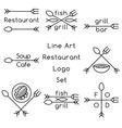 Line art restaurant logo set vector image