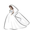 Abstract outline color of a young elegant bride vector image