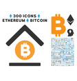 bitcoin bank roof flat icon with set vector image