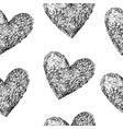 Black hearts seamless pattern vector image