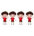 boy in red doing different actions vector image