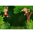 Cute monkey hangin in the jungle vector image