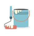 Flat Design Paint Bucket With Roller vector image