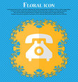 retro telephone handset Floral flat design on a vector image