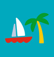 yacht and palm card vector image