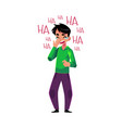 young man laughing out loud crying from laughter vector image