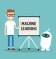 machine learning conceptual young character vector image