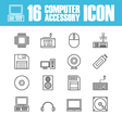 260computer equipment outline icon vector image