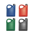 Set of Blank Plastic Jerrycan Canister Gallon Oil vector image