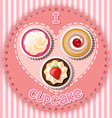 cupcake on heart shape vector image